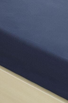 English Home Düz Pamuklu Çift Kişilik Lastikli Çarşaf 160x200 Cm Gece Mavisi 1