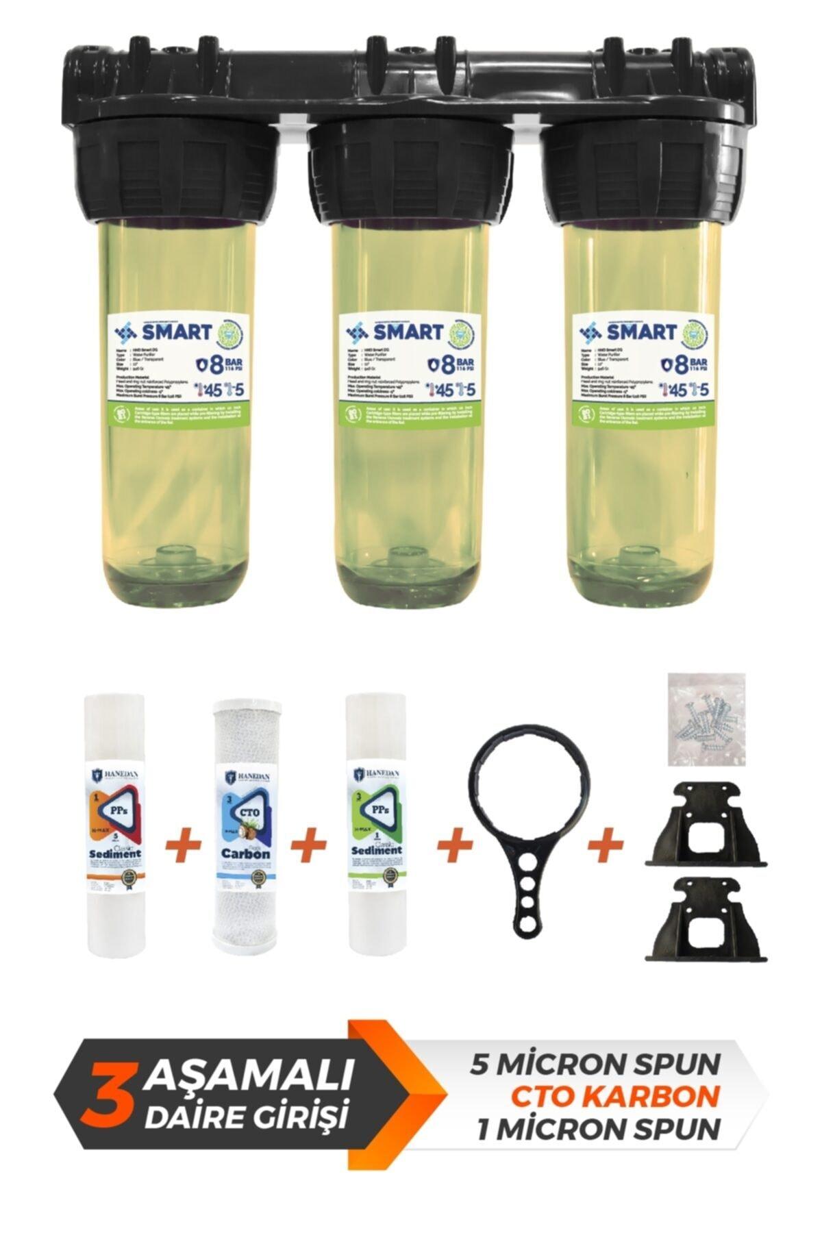 Smart 10 Inc Çift Sediment Karbon Filtreli Kireç Ve Tortu Önleyici 3lü Daire Girişi Su Arıtma Cihazı