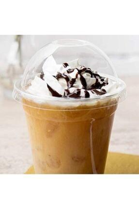 14Süs 350cc Pet Plastik Limonata Milkshake Bardağı 50 Adet Kapaklı 1