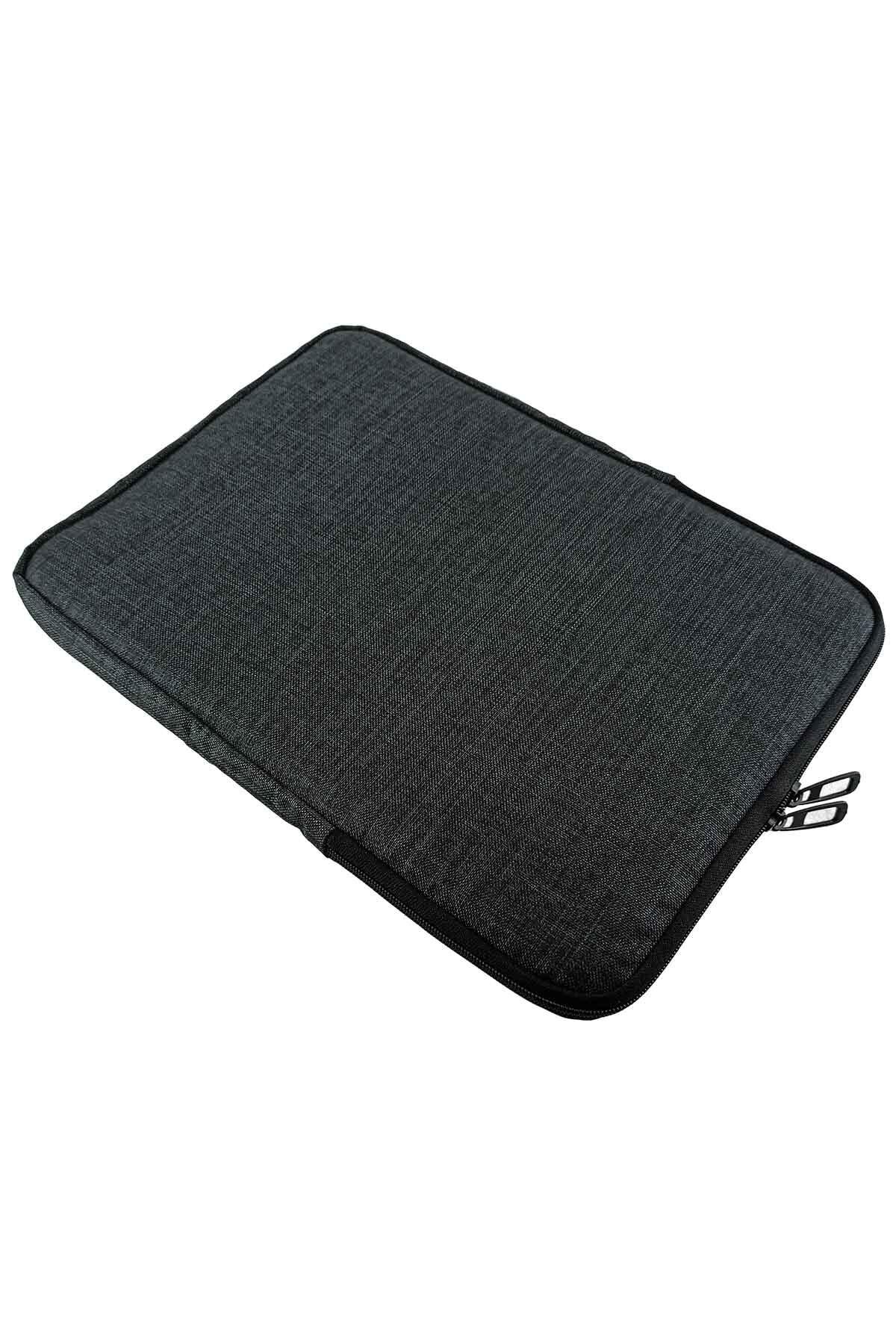 Unisex 13-13.3-14 Inç Uyumlu Su Geçirmez Macbook Kılıf Notebook Laptop Çantası - Kd- Füme