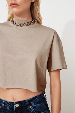 TRENDYOLMİLLA Taş Dik Yaka Crop Örme T-Shirt TWOSS20TS0287 2