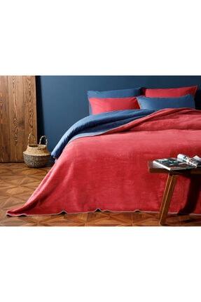English Home Plain Pamuklu Çift Kişilik Battaniye 200x220 Cm Kırmızı - Lacivert 0