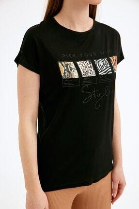Fullamoda Kadın Siyah Baskılı Tshirt 4