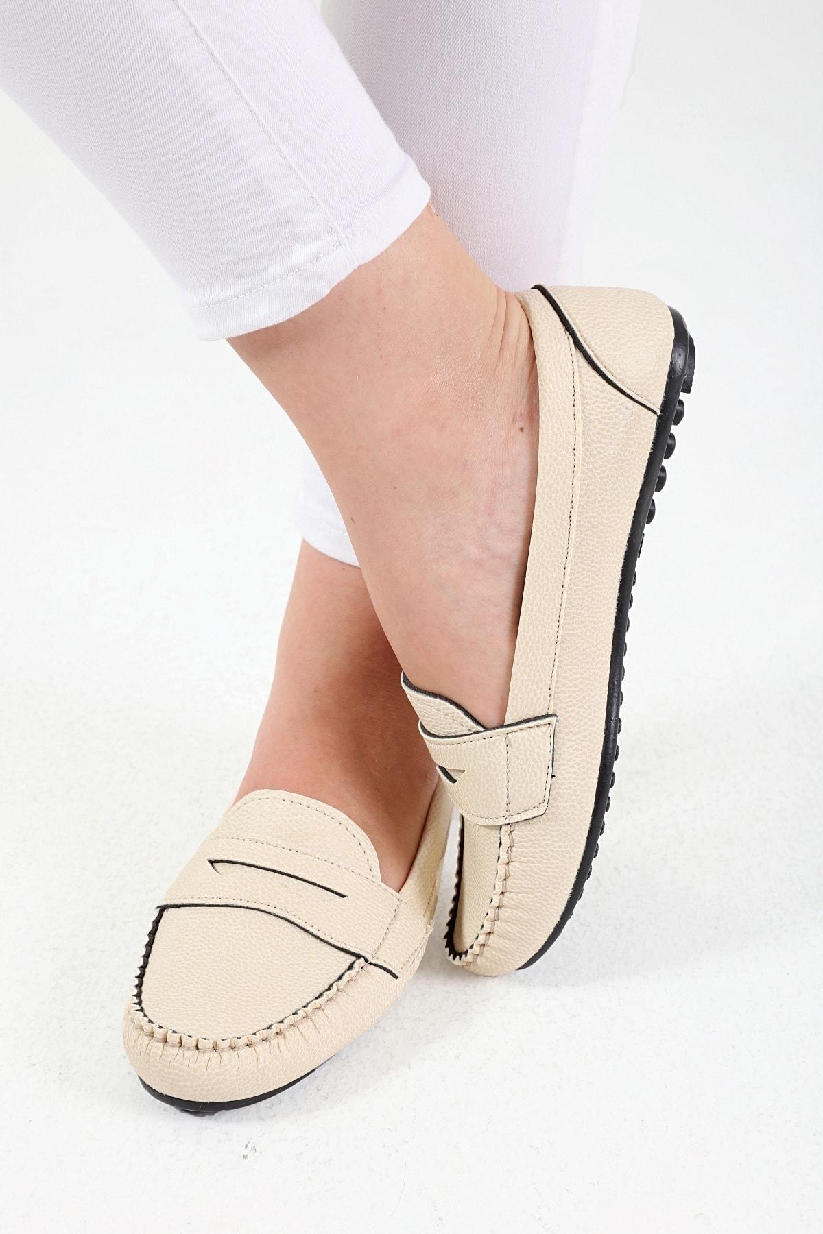 Bej Kolej Kadın Günlük Casual Babet Ayakkabı