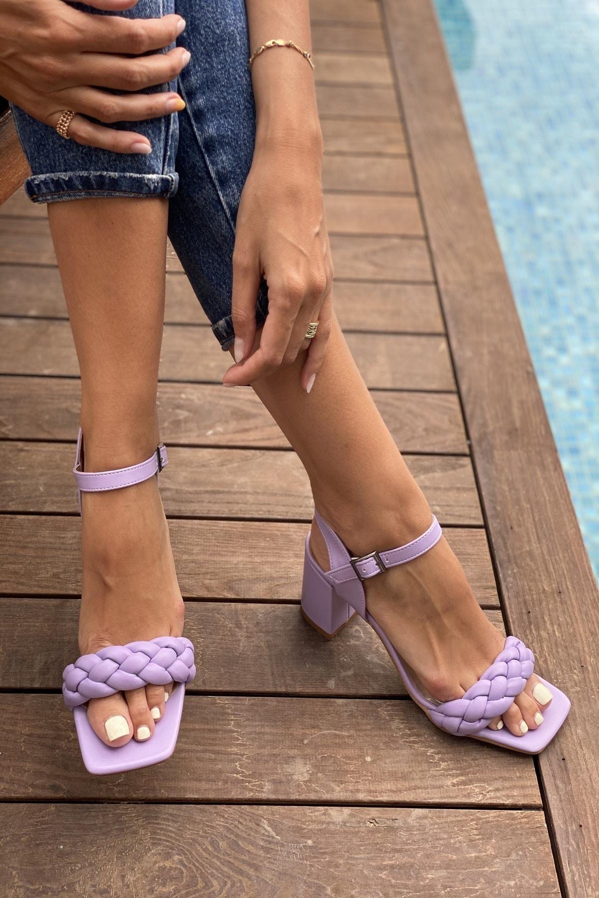 İnan Ayakkabı Kadın Mor Küt Burun Örgü Tek Bant Topuklu Ayakkabı