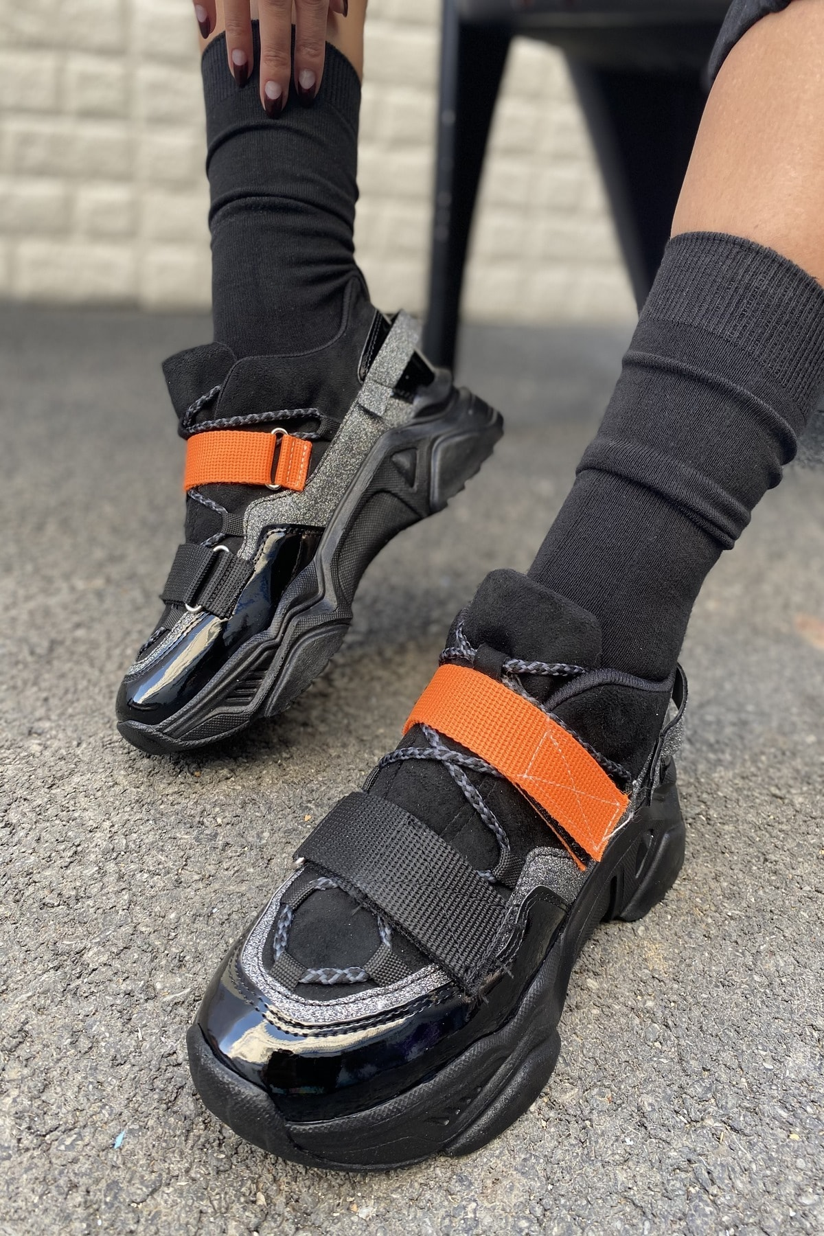 Kadın Siyah&Turuncu Ayakkabı&Sneaker INASPORT10