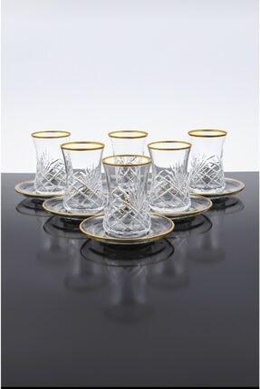 Paşabahçe Desenli Kesme 12 Parça 6 Kişilik Çay Bardağı Seti 1