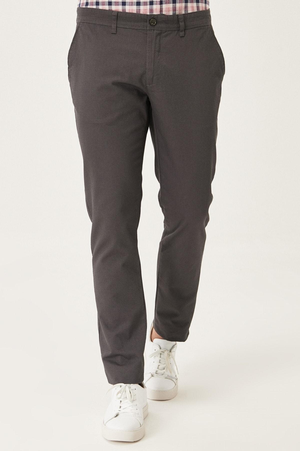 Erkek Antrasit Kanvas Slim Fit Dar Kesim Yan Cep %100 Koton Chino Pantolon