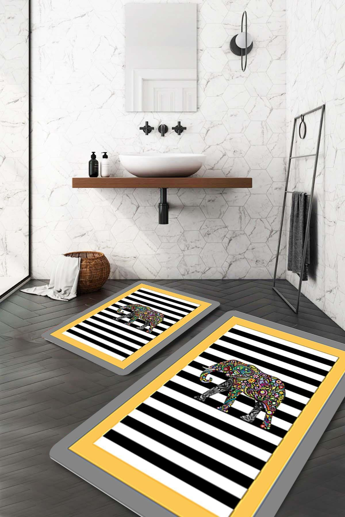Fil Motifli Sarı Gri Banyo Paspası