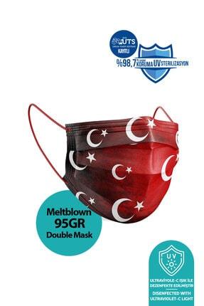 Medizer Türk Bayrağı Desenli Meltblown Ultrasonik 3 Katlı Cerrahi Maske 10'lu 1 Kutu - Burun Telli 1