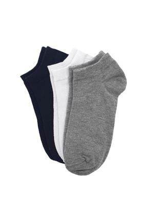 Shaka Gri/beyaz/siyah 3' Lü Patik Çorap No:8 0