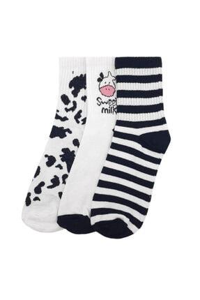 Shaka Inek Desen 3'lü Soket Unisex Kolej Çorap 0