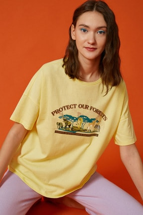 Koton Kadın Sarı Baskili Tisört 0