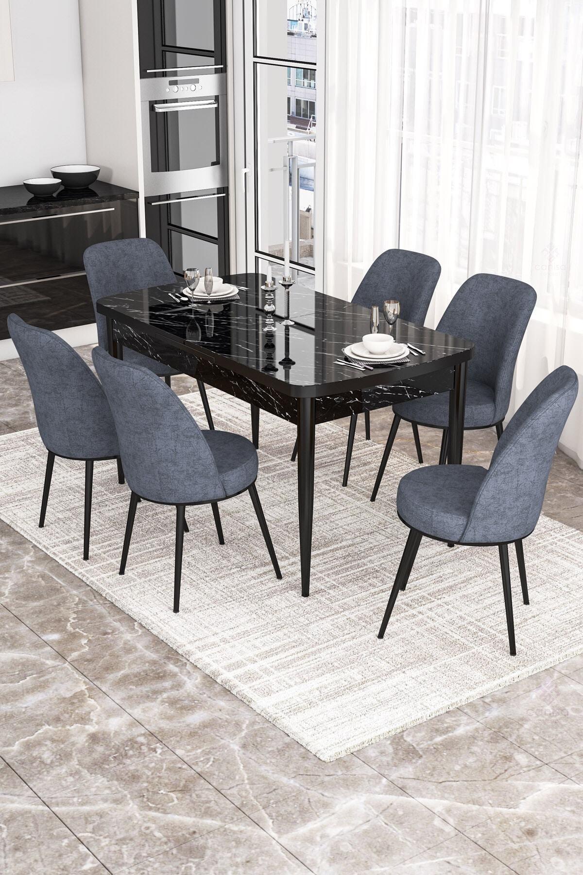 Via Serisi Açılabilir Mutfak Masa Takımı- Siyah Mermer Desen Masa+6 Füme Sandalye