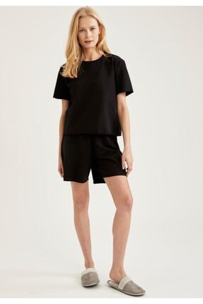 Defacto Kadın Siyah Relax Fit Basic Kısa Şort Pijama Altı 0