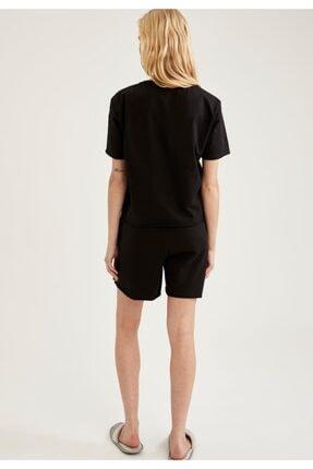 Defacto Kadın Siyah Relax Fit Basic Kısa Şort Pijama Altı 2