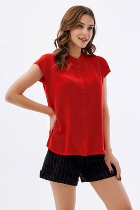 Pattaya Kadın Kırmızı Hakim Yaka Kısa Kollu Gömlek P21s110-1173 2