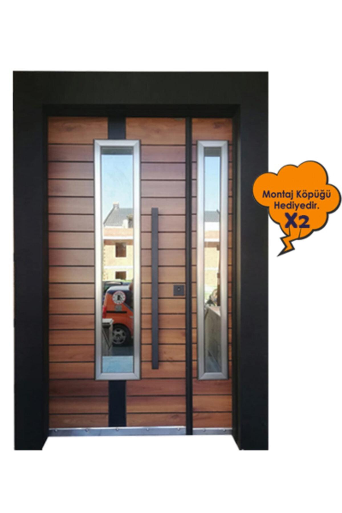Villa Kapısı, Siyah Kasalı Alpi Desen Düz Model Apartman Giriş Kapısı , Çelik Kapı