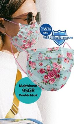 Medizer Madame Spring Desen Meltblown Ultrasonik 3 Katlı Cerrahi Maske - Burun Telli 10'lu 1 Kutu 3