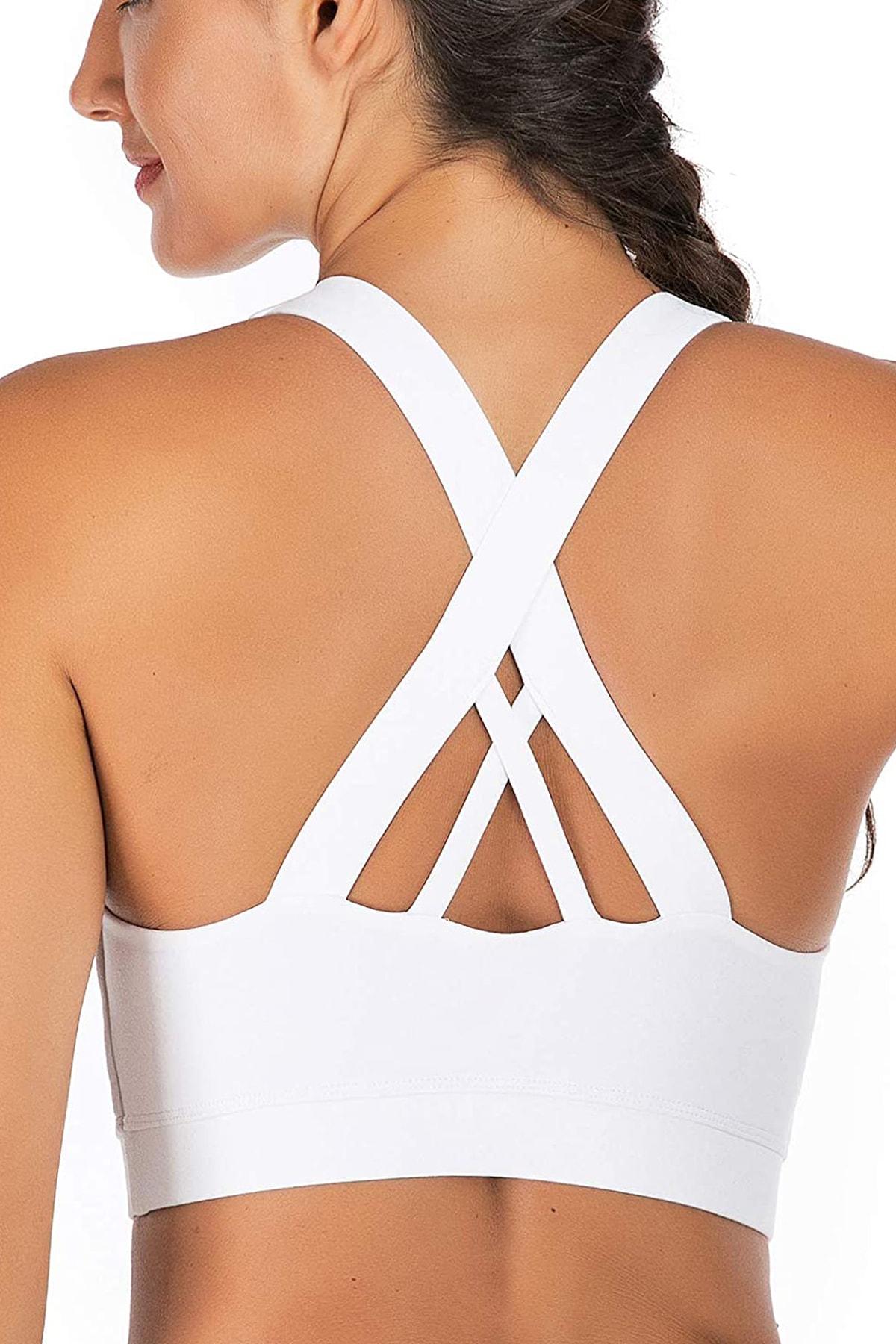 Beyaz Hafif Destekli Sırt Detaylı Kaplı Spor Sütyeni Crisscross