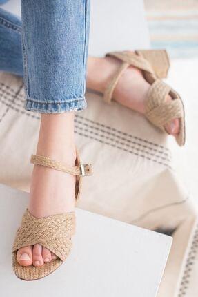 yesh Kadın Hasır Kalın Topuklu Sandalet 1