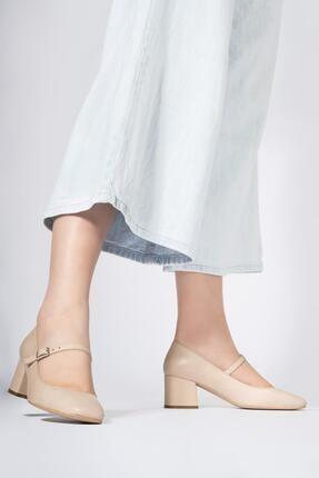 CZ London Hakiki Deri Kadın Alçak Topuklu Küt Burun Ayakkabı 2