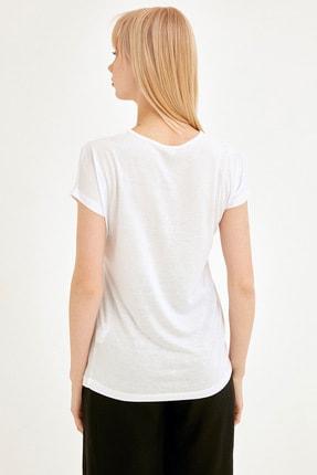 Fullamoda Kadın Beyaz Simli Courage Baskılı Tshirt 3