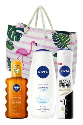 Nivea Karoten Özlü Yoğun Bronzlaştırıcı Sprey Güneş Yağı 200 Ml + Creme Soft 400 Ml Kadın Duş Jeli + 0