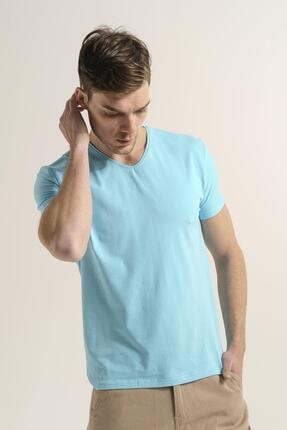 Oksit Riley V Yaka Slim Fit Basic Erkek Tshirt 1