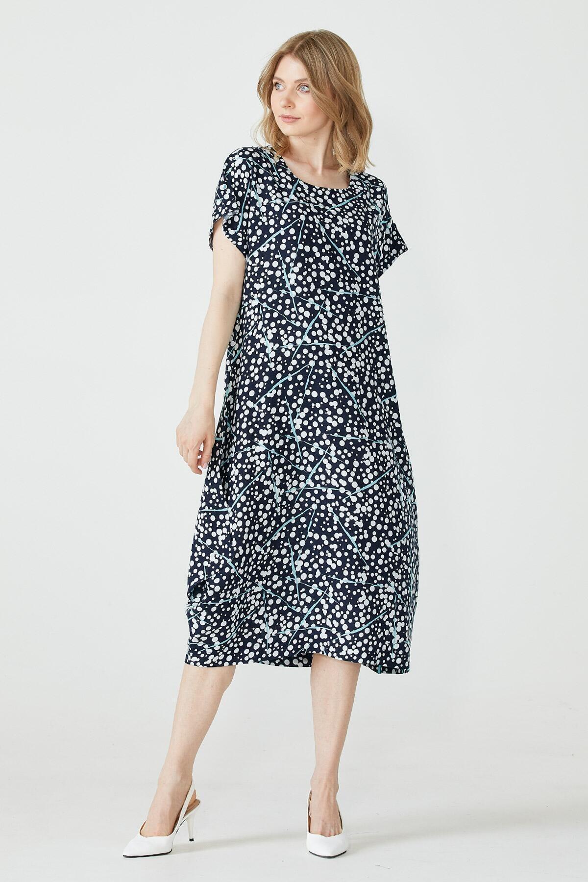 Desenli Torba Kesim Kadın Elbise - Lacivert