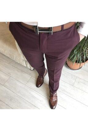 TerziAdemAltun Italyan Stil Slim Fit Erkek Kumaş Pantolon Bordo T4423 1