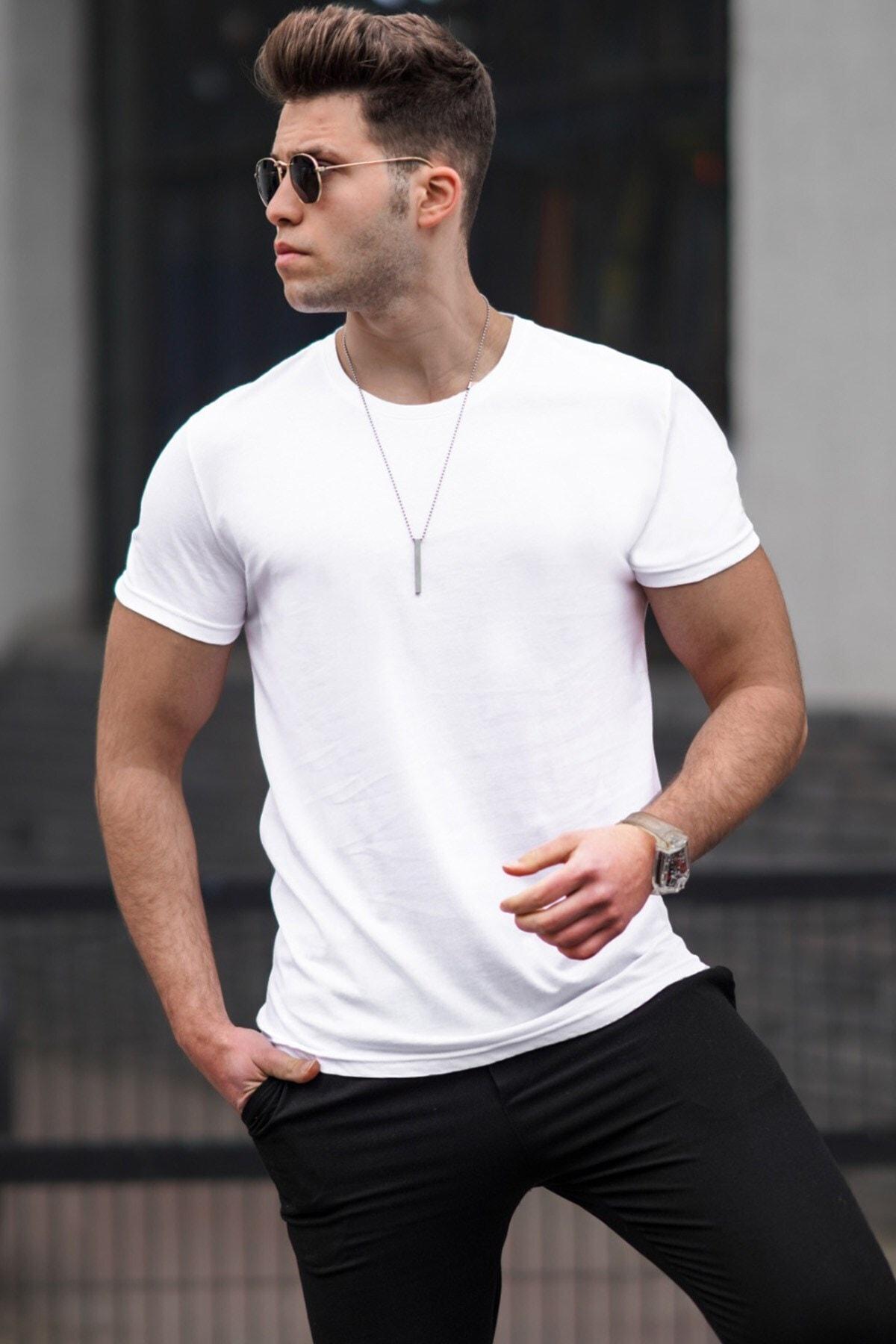 Erkek Beyaz Baskılı T-Shirt - 3006