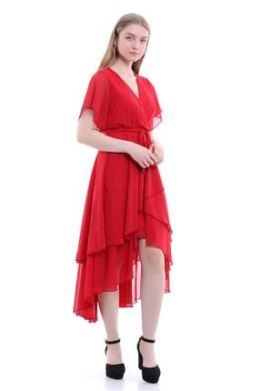 Kırmızı Önü Kısa Arkası Uzun Şifon Elbise 000025