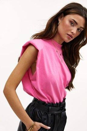 Madmext Kadın Pembe Vatkalı T-Shirt Mg900 0