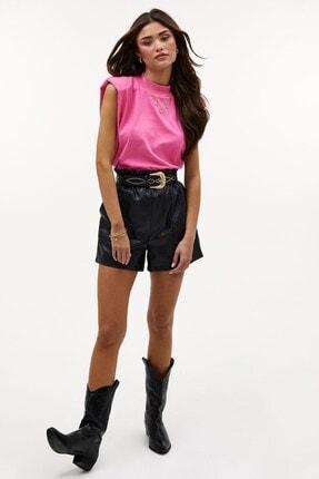 Madmext Kadın Pembe Vatkalı T-Shirt Mg900 1
