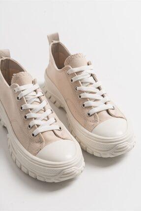 LuviShoes Kadın Krem Keten Spor Ayakkabı1453 0