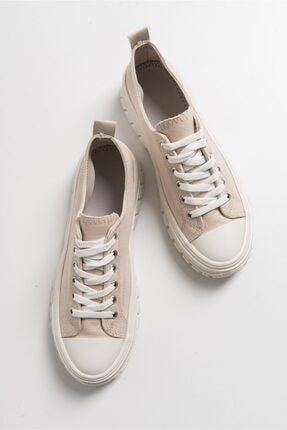 LuviShoes Kadın Krem Keten Spor Ayakkabı1453 2