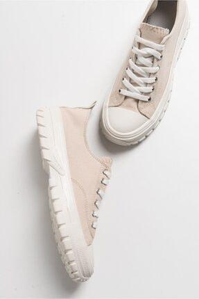 LuviShoes Kadın Krem Keten Spor Ayakkabı1453 3