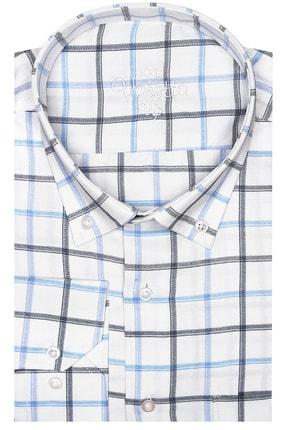 تصویر از Erkek Beyaz Mavi Süper Büyük Beden Uzun Kol Yaka Düğmeli Kareli Tek Cepli Gömlek