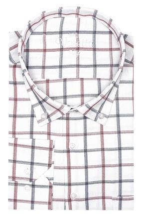 تصویر از Erkek Beyaz Kırmızı Süper Büyük Beden Uzun Kollu Yaka Düğmeli Kareli Tek Cepli Gömlek