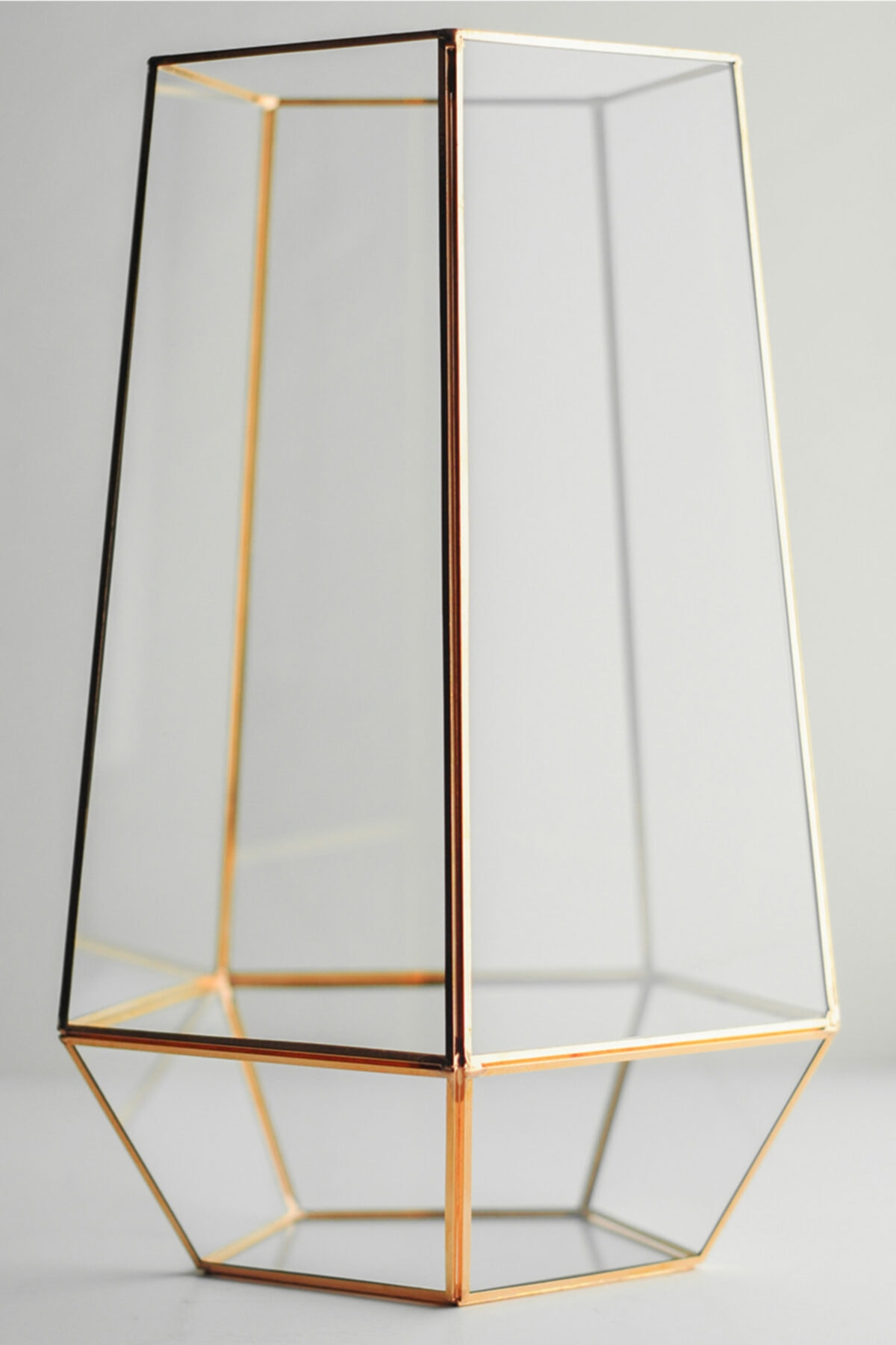 Geometrik Teraryum Fanus Vazo Jardinyer Organizasyon Düğün Nişan Söz Bakır Rose Gold 31x19x18cm