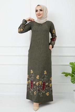 Çiçekli Yeşil Uzun Kollu Maxi Elbise 2011