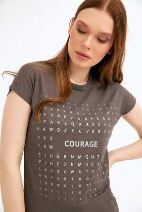 Fullamoda Kadın Antrasit Simli Courage Baskılı Tshirt 1