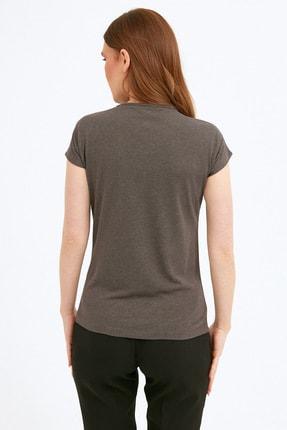 Fullamoda Kadın Antrasit Simli Courage Baskılı Tshirt 3