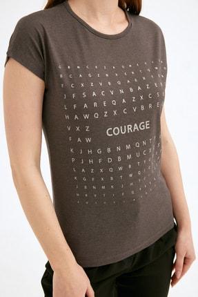 Fullamoda Kadın Antrasit Simli Courage Baskılı Tshirt 4