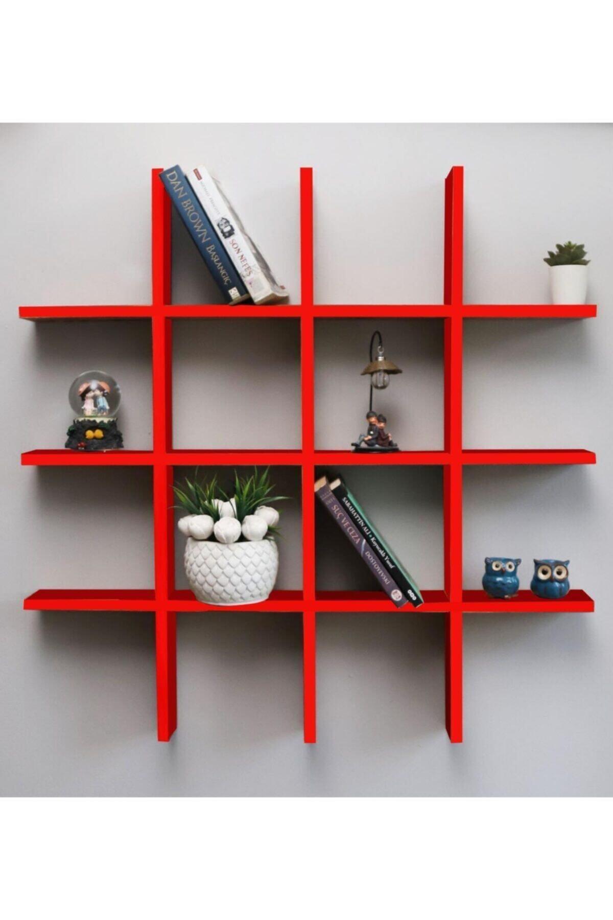 Dekoratif Çoklu Duvar Rafı Kitaplık Kırmızı 08004
