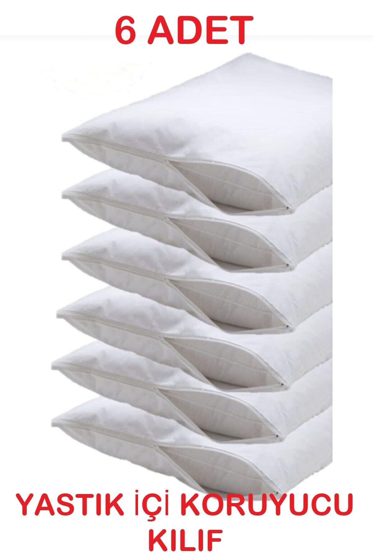 Beyaz Fermuarlı Yastık Içi Koruyucu Kılıf 50x70 cm 6 Adet