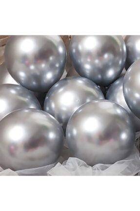Organizasyon Pazarı 12 Inç Metalik Gümüş Balon 10'lu 0
