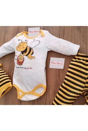 Mina Tasarım Unisex Bebek Sarı Arılı 3 Lü Zıbın Takımı 1