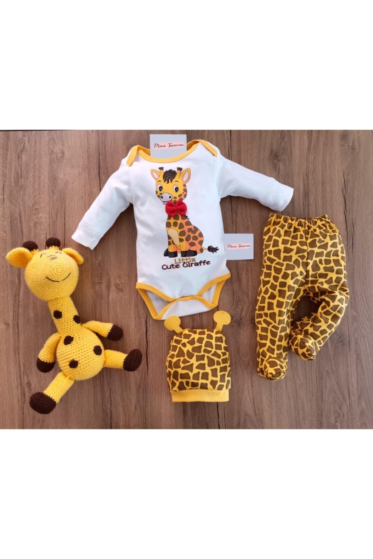 Unisex Bebek Sarı Zürafalı Zıbın Takımı 3'lü